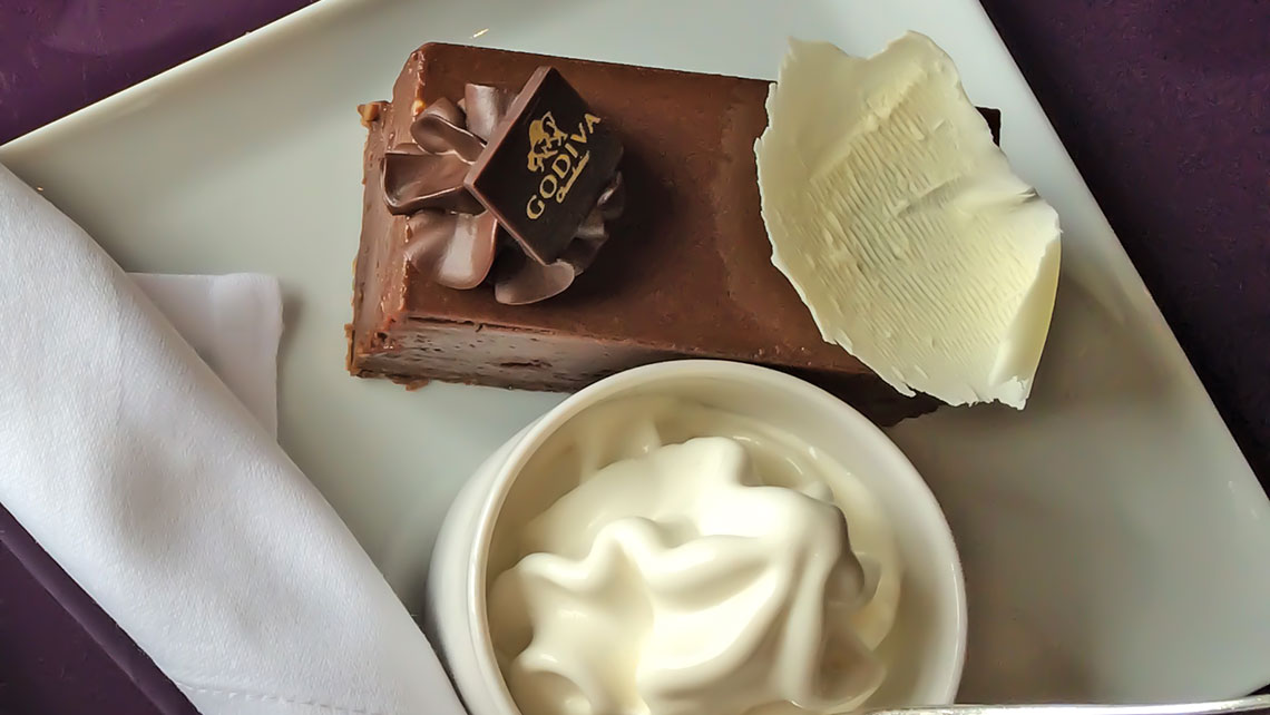 A Godiva chocolate dessert aboard Cunard Line's Queen Mary 2. Photo Credit: TW photo by Rebecca Tobin