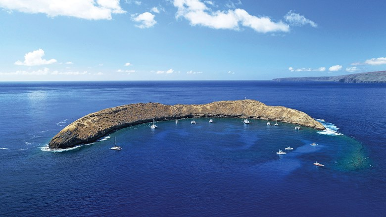 Molokini, a partially submerged volcanic crater off the coast of Maui, is a popular spot for snorkeling and scuba diving.