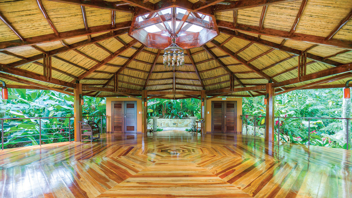 Yoga is offered daily at Nayara Springs' octagonal, wooden pavilion.