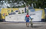 A member of the Cuban Masters Cycling club in the Fusterlandia neighborhood of Havana.