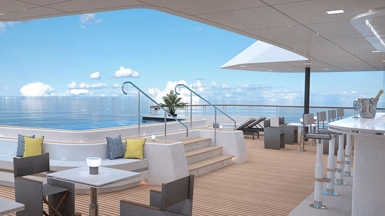 A rendering of the aft-facing pool on Deck 5 of the first Ritz-Carlton Yacht Collection ship. There will be several small pools designed to help the ship feel more like a yacht and less like a cruise ship.