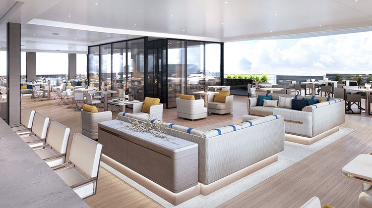 A rendering of the Marina Lounge on the first Ritz-Carlton Yacht Collection ship, currently under construction at the Hijos de J. Barreras shipyard in Vigo, Spain. Executives recently gave a sample price of $5,600 per person for a seven-day Mediterranean cruise; sales to the general public open in June.