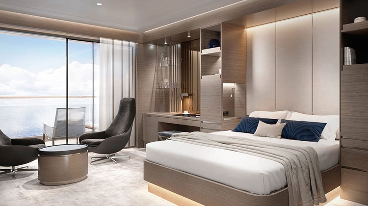 There will be 90 Terrace Suites on the 298-passenger as yet unnamed ship. Many suites will have folding panel dividers so that they can be combined for charters. At 29 square meters, the Terrace Suite category is the smallest of five types of suites.