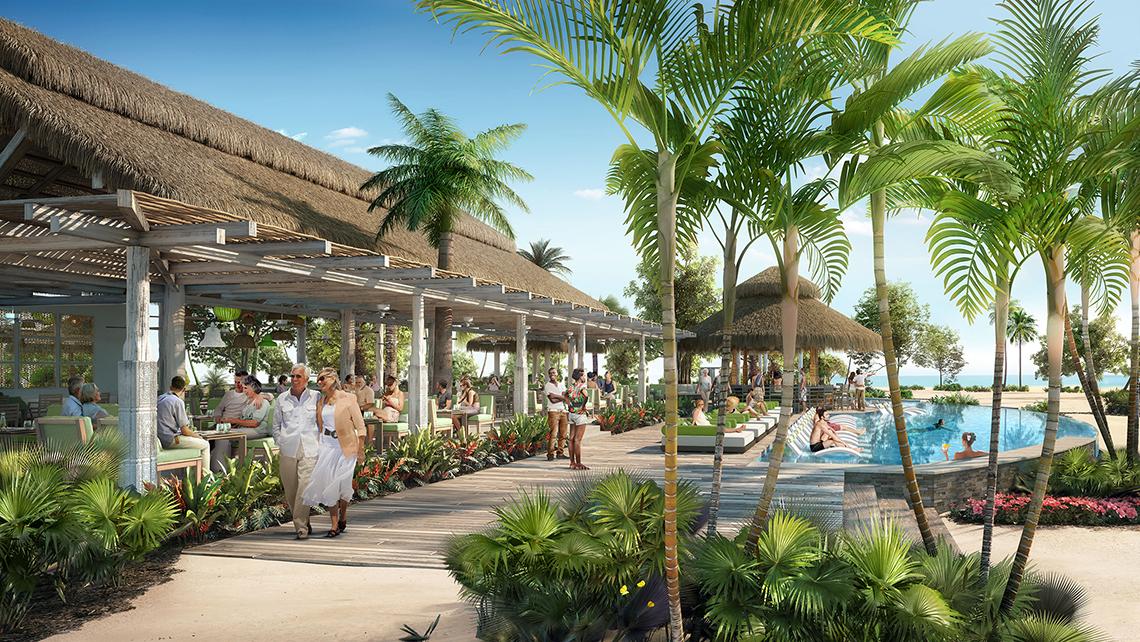 La grande piscina dell'Oasis Lagoon ospita un bar semi-sommerso e lettini a bordo piscina.