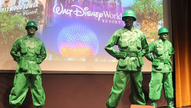 Green Army Men from the Toy Story franchise at a Disney event for travel agents in New York.