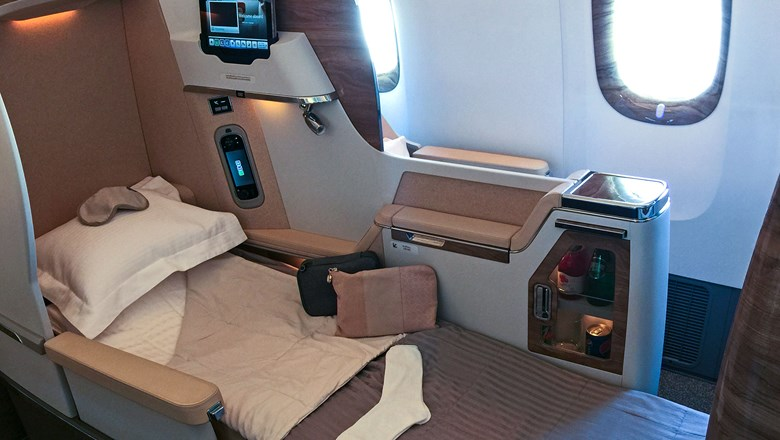 Emirates' refurbished Boeing 777-200LR aircraft has a business class but no first class.