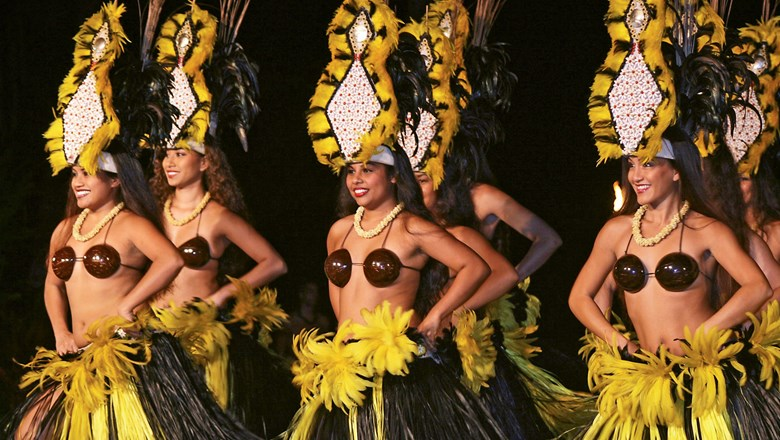 Dancers at the Old Lahaina Luau, which installed a $1 million sound and lighting system last year.