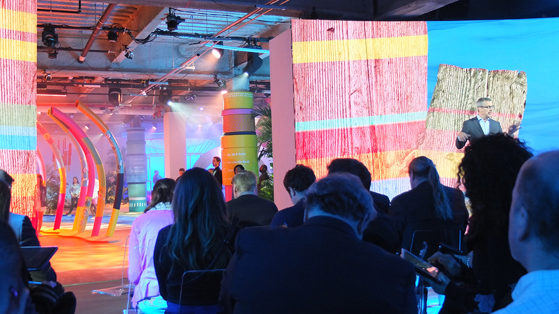 The presentation screens opened up, revealing an augmented reality experience. Photo Credit: Jamie Biesiada