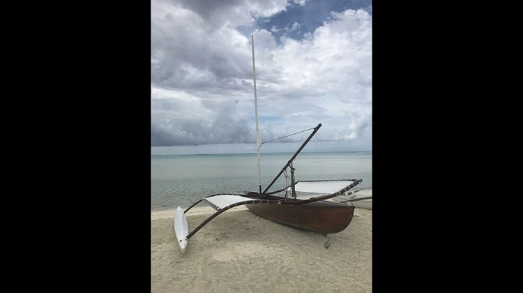 A traditional Polynesian sail boat used to give guests at the Brando tours of the exclusive resorts surrounding atolls and nature preserves.