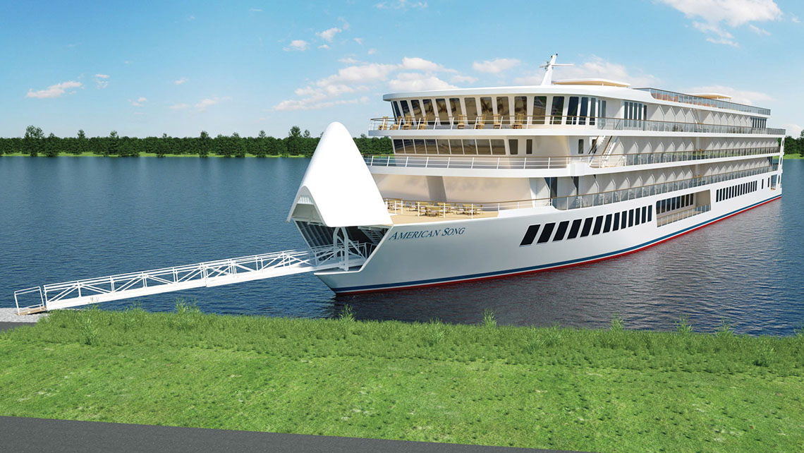A rendering of the American Song, the first of American Cruise Line's new generation of river vessels.
