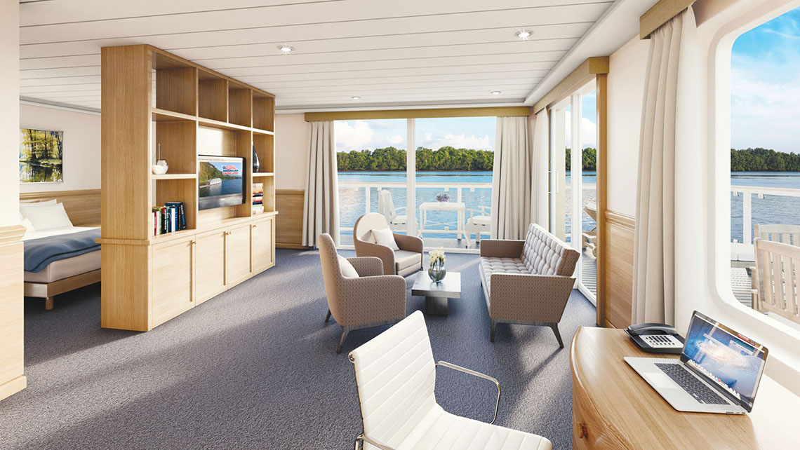 The American Song's 900-square-foot grand suite will be the largest suite on U.S. rivers.