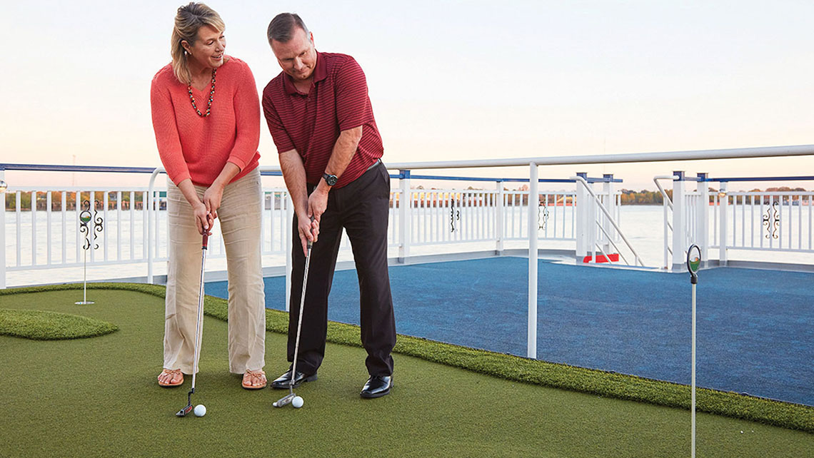 American Cruise Lines' newbuild paddlewheelers feature a small putting green on the sun deck.