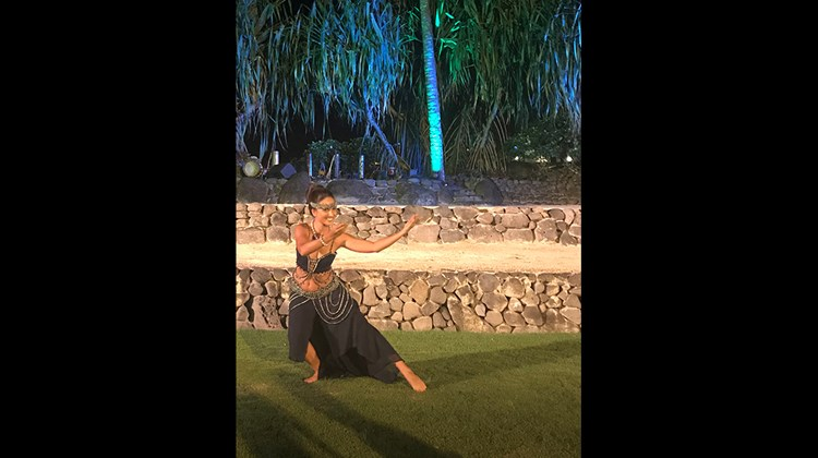 A dancer performs at a dinner hosted by the InterContinental Resort Tahiti in Papeete for the inaugural Parau Parau Tahiti travel mart connecting tour operators and Tahitian travel suppliers.