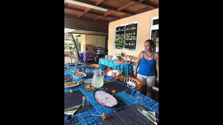 Lunch prepared by a local family on the island of Taha'a after snorkeling excursion with Rani Poe Tours.
