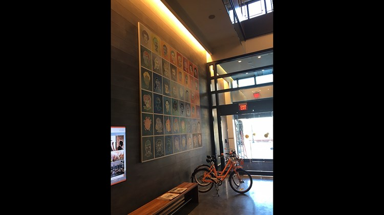 The hotel's ground-floor entryway features 48 pop art portraits of notable locals, as well as orange (a nod to the brand's logo color) bikes for rent.