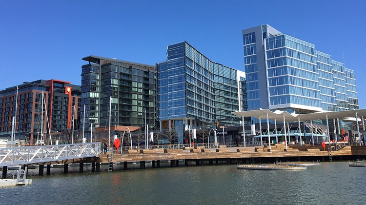 About 20 miles away, the first phase of Washington, D.C.'s $2.5 billion The Wharf mixed-use district opened in October 2017 and includes three hotels, including an InterContinental (left), a Hyatt House (middle-right) and a Canopy by Hilton (right).