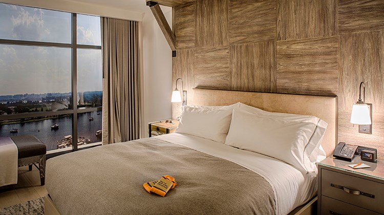 Rooms in Washington offer views of the Washington Channel and the Potomac River below.