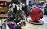On this preview cruise, a tower of orchids and other live flowers stands next to the sculpture ''VW Beetle 1953'' on the Royal Promenade.
