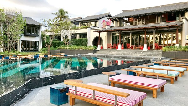 The pool area of the Baba Beach Club, which sits on a 6-mile stretch of Natai Beach.