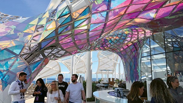 The Big Wonder art installation also serves as a canopy over a bar in the Solarium.