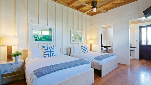 A guestroom at the Mahogany Bay. The 300-room property is part of Hilton's Curio collection.
