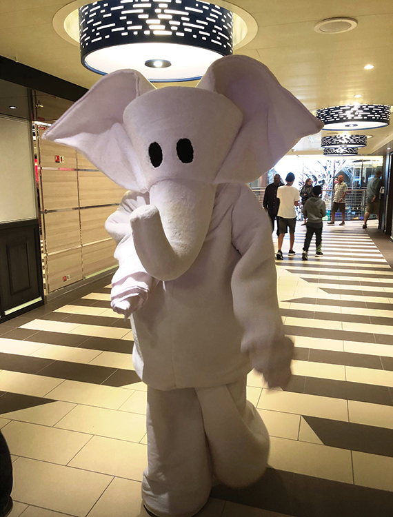 The Funship Towel Animal mascot strolling the decks.