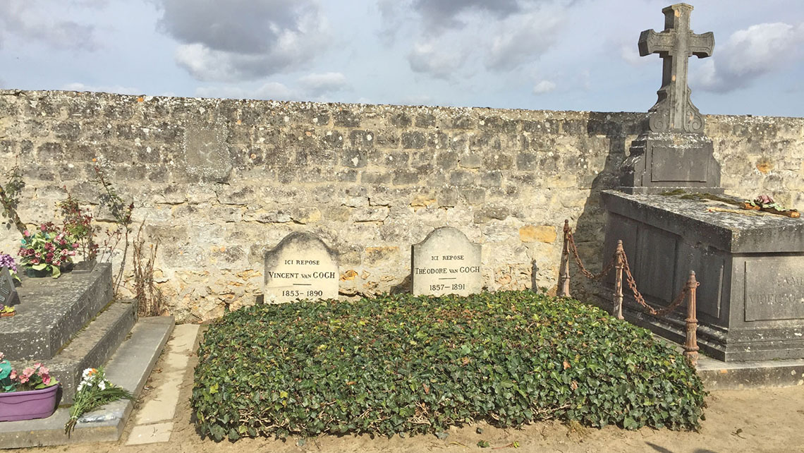 Vincent and Theo Van Gogh's graves in Auvers-sur-Oise, a popular port of call on Seine river cruises.
