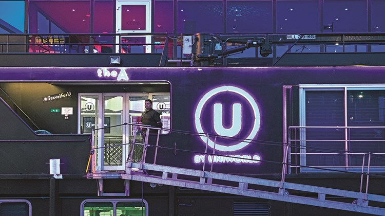 U by Uniworld's newly launched The A features an all-black exterior and neon logos.