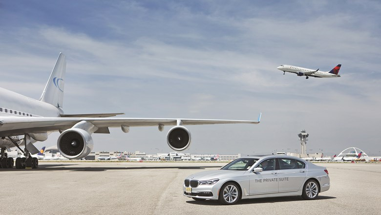 Private Suite guests are driven across the tarmac to their planes via a BMW 7-Series sedan.