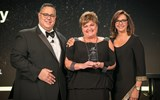 Sandy Cleary, founder and CEO of CruCon Cruise Outlet, was also given a lifetime achievement award from CLIA. With CLIA's Charles Sylvia and Dondra Ritzenthaler of Celebrity Cruises.