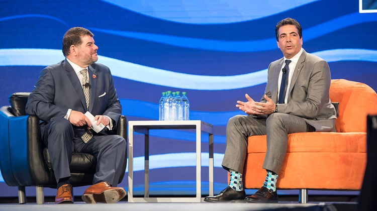MSC Cruises USA senior vice president of sales Joe Jiffo, right, with JAmes Ferrara, president of InteleTravel, during the ''Sales and Marketing Leaders Take the 'Hot Seat''' session.