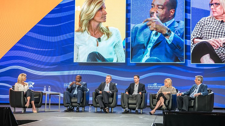 Top executives of the cruise industry on the Cruise360 Presidents Panel, moderated by Kimberly Wilson Wetty of Valerie Wilson Travel, from left: Orlando Ashford of Holland America, Michael Bayley of Royal Caribbean, Josh Liebowitz, chief strategy officer of Cunard, Lisa Lutoff-Perlo of Celebrity and Rick Sasso of MSC Cruises USA.