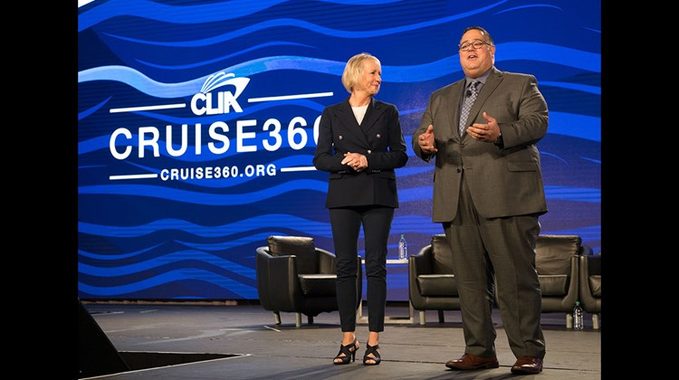 CLIA president and CEO Cindy D'Aoust and Charles Sylvia, vice president of membership and trade relations, at the 2018 Cruise360 conference.