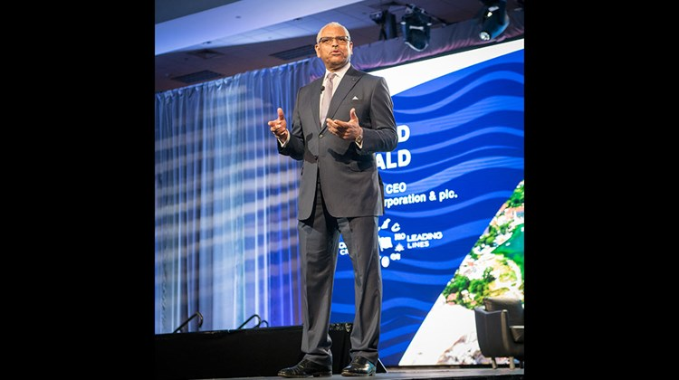 Carnival Corp. CEO Arnold Donald addressed several hundred travel agents at a Friday keynote session of Cruise360.