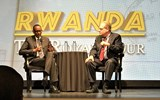 Following the screening of the video ''Rwanda -- The Royal Tour,'' Rwandan president Paul Kagame was interviewed by the show's host, CBS News travel editor Peter Greenberg, in an auditorium in New York's Guggenheim Museum.