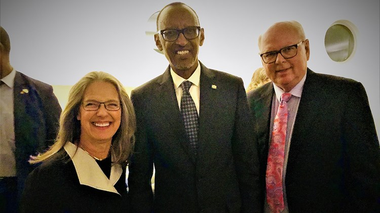 At a reception at the Guggenheim Museum after the New York City premiere of ''Rwanda -- The Royal Tour,'' the president met the founders of TravelGuard Insurance and Berkshire Hathaway Travel Protection, Patty and John Noel.