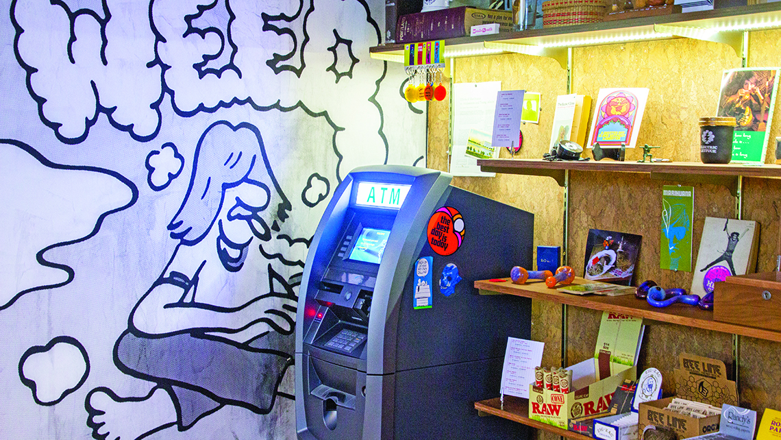 The ATM at Electric Lettuce in Portland's Lloyd district. Dispensaries are largely cash businesses because cannabis remains illegal federally. Photo Credit: TW photo by Eric Moya