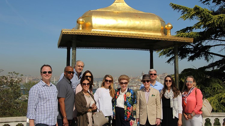 Travel Advisor Leadership Council members on a day excursion visiting Topkapi Palace. From left: Jim Bendt of Pique Travel Design; Steve Harris of Strong Travel; Enrique Felgueres of Felgueres Travel Group and wife Mariana Rojas; Alexandra Avila of JG Black Book; Beth Jenkins of McCabe World Travel; Valerie Wilson and Bob Watson of Valerie Wilson Travel; James Saleh of JG Worldwide; Taryn Deschaine of Camelback Odyssey Travel; and Stella Bettany of Azura Retreats.
