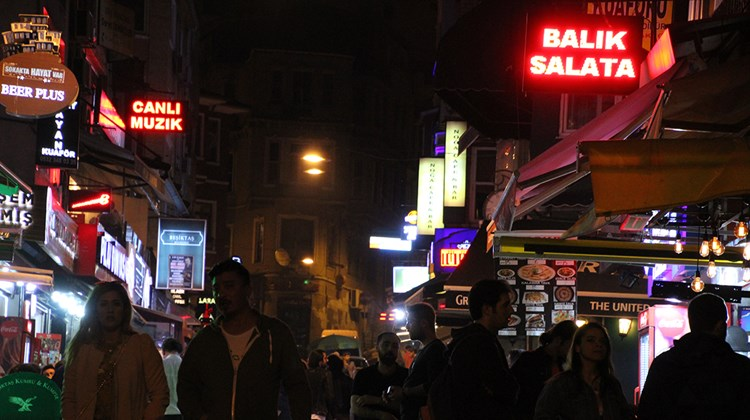 A weeknight in Istanbul's Besiktas district, where bars and restuarants draw throngs of young people.