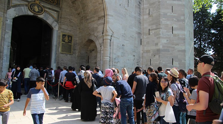 Visitors wait to enter the Topkapi Palace Museum during a late weekday morning.