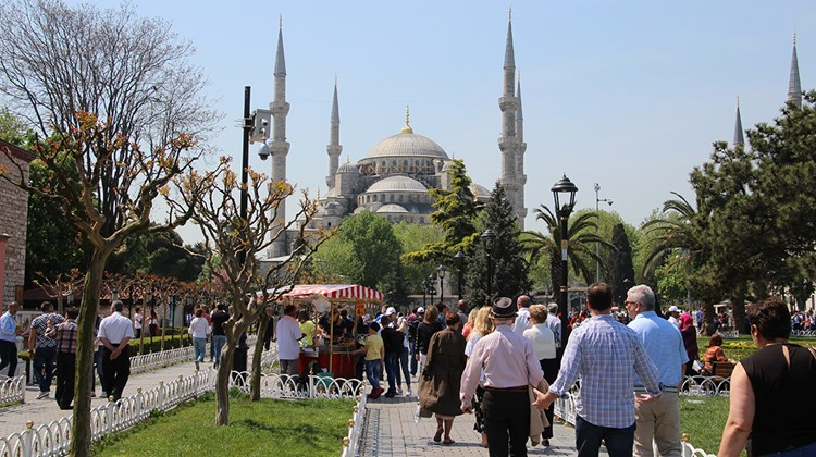 A parkside view of the Hagia Sophia.