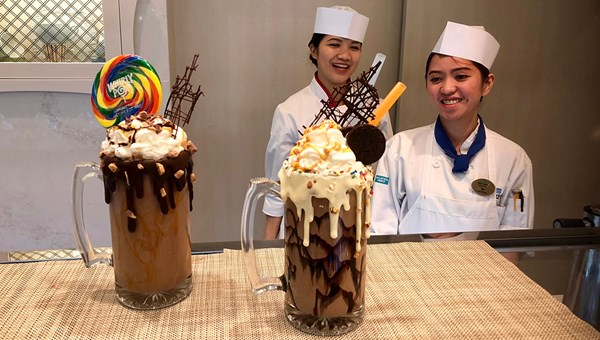 At Coco's, two Mad Milk Shakes: the Snickers Bar and Cookies 'N Cream.