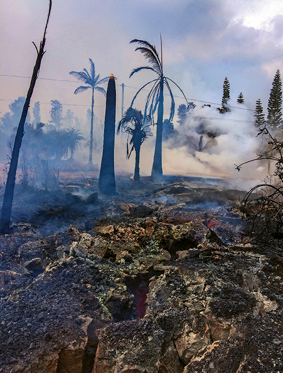 Severe ground cracks associated with a fissure from the Kilauea eruption opened up in the evacuated Leilani Estates neighborhood on the Big Island.