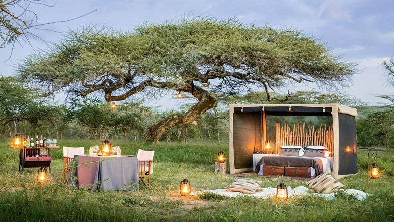 "Mwiba Lodge recently introduced an experience where travelers can spend a night under the stars in a luxurious, temporary ""fly camp"" set up on an escarpment of the Great Rift Valley."