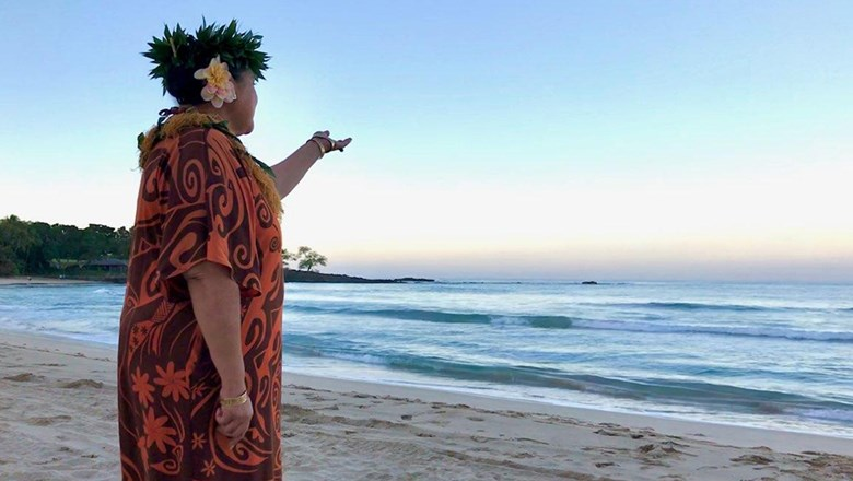 Healani Kimitete-Ah Mow leads the e ala e, morning chant. Kimitete-Ah Mow joined Mauna Kea Resort and Hapuna Beach Resort as the aloha ambassador in January and has been adding new programming.