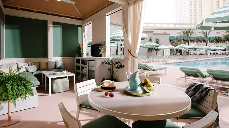 The Park MGM calls its pool deck a vibrant outdoor escape that ''channels the sun-drenched South of France.'' Pictured, a double cabana.