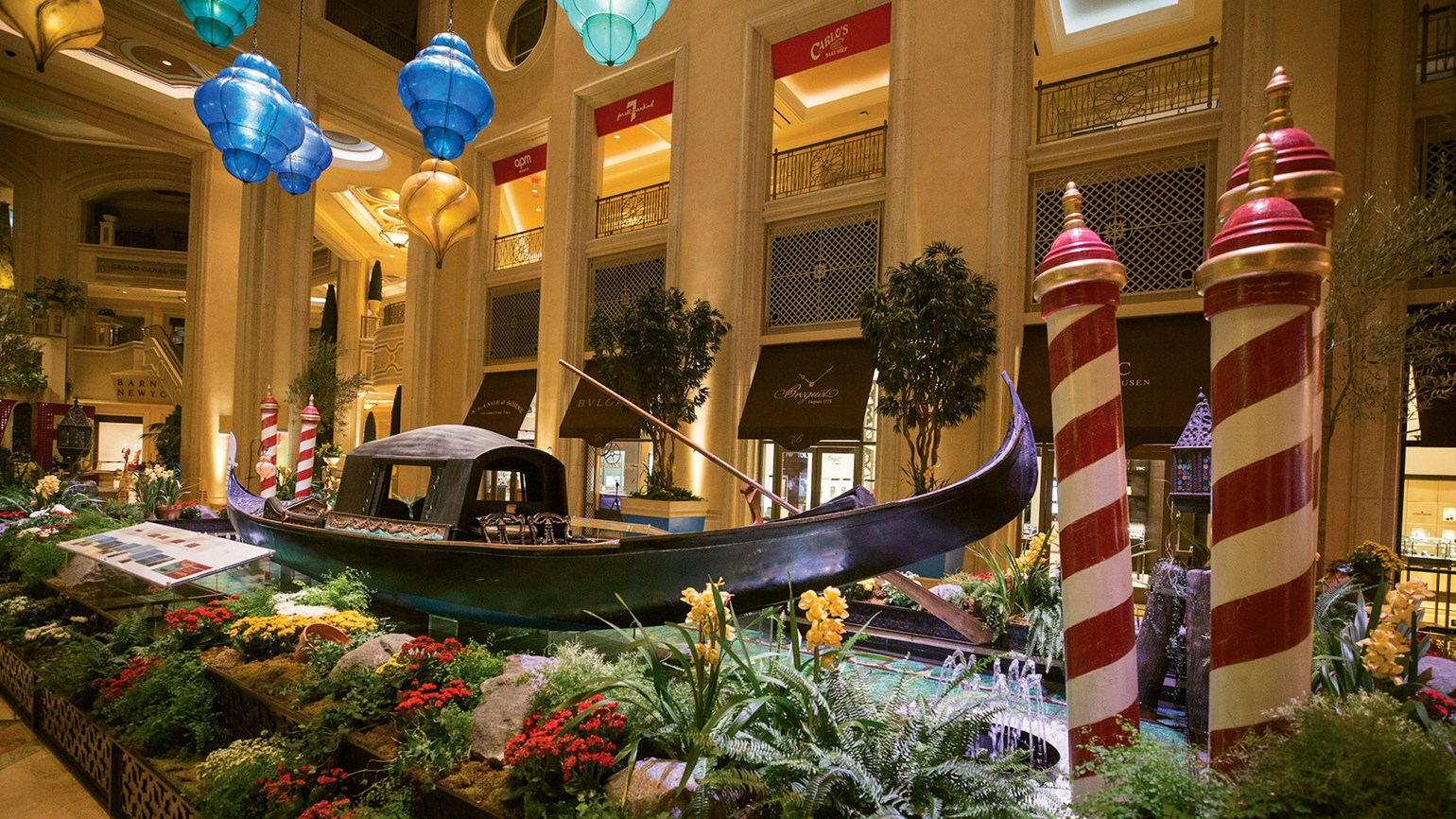 Antique gondola docked in place of honor at the Venetian