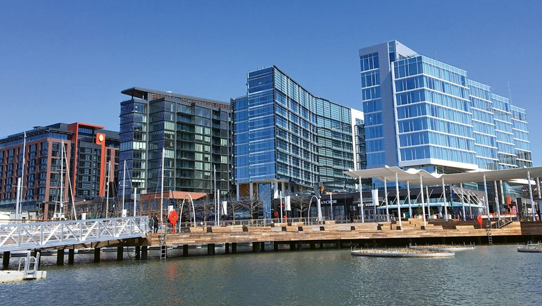The first phase of Washington's $2.5 billion mixed-use Wharf district opened in October and has three hotels, from left: an InterContinental, a Hyatt House and a Canopy by Hilton.
