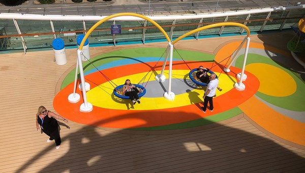 New swing chairs on the Independence of the Seas were part of a $110 million overhaul.