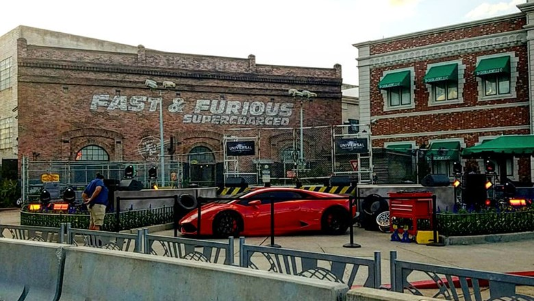Exterior of the new Fast & Furious: Supercharged ride at Universal Studios Florida.